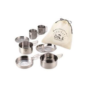 キャンピング鍋セット/アウトドア用品 〔8点セット〕 ステンレス製 鍋・フライパン・小皿・マグカップ等 little-trees