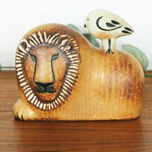 Lisa Larson(リサ ラーソン)/Lion with Bird(ライオンと鳥)/北欧オブジェ・置物|little