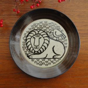 Lisa Larson(リサ・ラーソン)益子の皿 ライオンと鳥 茶 Japan Seriesジャパン...