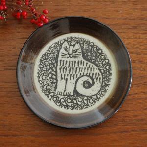 Lisa Larson(リサ・ラーソン)益子の皿 NINA ねこ 茶 Japan Seriesジャパ...