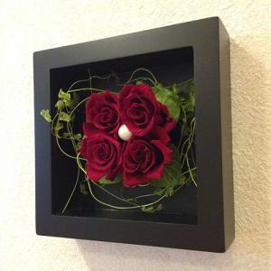 プリザーブドフラワー 壁掛け 額 木製 フレーム レッド/誕生日/結婚祝/花/プレゼントlpm0018 イメージ5