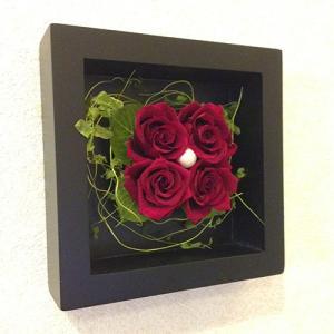 プリザーブドフラワー 壁掛け 額 木製 フレーム レッド/誕生日/結婚祝/花/プレゼントlpm0018 イメージ6