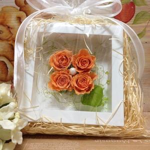 プリザーブドフラワーの壁掛けフレームオレンジは置物としても使えます。贈り物/プレゼント/送料無料 lpm0021 イメージ5