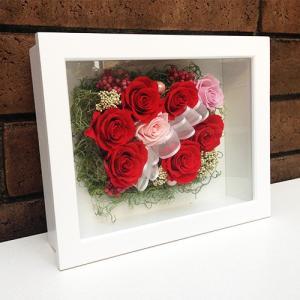 母の日 誕生日 結婚祝い 花 ギフト プレゼント 壁掛け 額 木製 フレーム プリザーブドフラワー(L) lpm0033 イメージ2