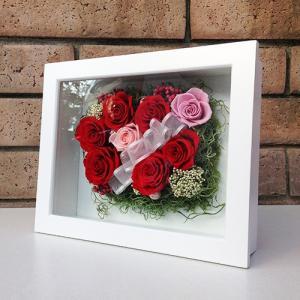 母の日 誕生日 結婚祝い 花 ギフト プレゼント 壁掛け 額 木製 フレーム プリザーブドフラワー(L) lpm0033 イメージ3