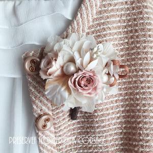 プリザとアーテシャルフラワーを使用した上品な春の入学式・結婚式にナチュラルピンクのコサージュ lpm0066 イメージ1