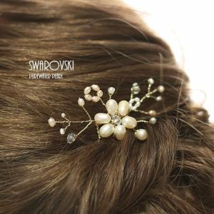 淡水パール、スワロフスキーを使った髪飾り ヘアーコーム付 littleangel