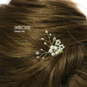 淡水パール、スワロフスキーを使った髪飾り ヘアーコームホワイト(5くし) littleangel