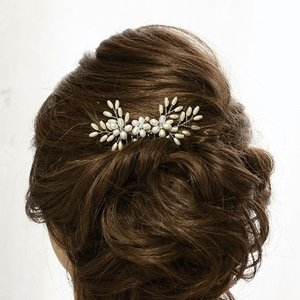 スワロフスキーのクリスタルパールを使った髪飾り シルバーコーム littleangel
