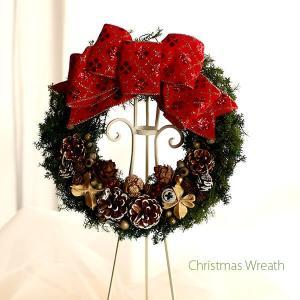 赤いリボンと木の実の可愛いクリスマスリース lpm0107 イメージ2