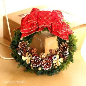 赤いリボンと木の実の可愛いクリスマスリース lpm0107 イメージ3
