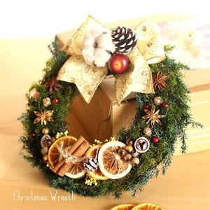 白いリボンのオレンジとスパイスのクリスマスリース lpm0108 イメージ1