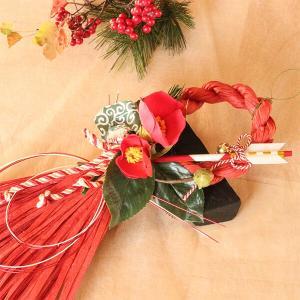 お正月たて長赤い椿と獅子頭のしめ縄 lpm0111 イメージ3