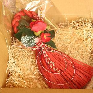 お正月たて長赤い椿と獅子頭のしめ縄 lpm0111 イメージ6
