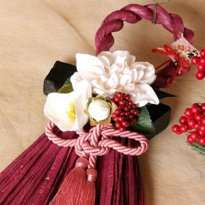 お正月縦長白いダリアと椿のしめ縄(ワイン)lpm0112 イメージ2
