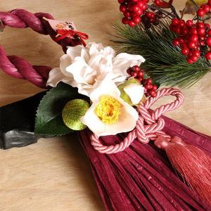 お正月縦長白いダリアと椿のしめ縄(ワイン)lpm0112 イメージ4