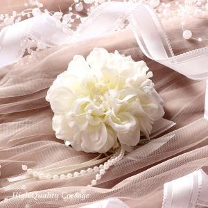 入学式・卒業式・結婚式にピッタリ♪ホワイトのダリアのコサージュ lpm0113 イメージ4