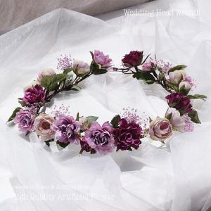 パープル系のミニローズとカスミソウの花冠 lpm0121 イメージ1