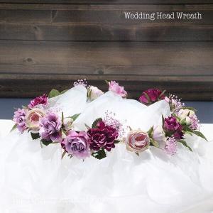 パープル系のミニローズとカスミソウの花冠 lpm0121 イメージ2