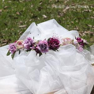 パープル系のミニローズとカスミソウの花冠 lpm0121 イメージ3