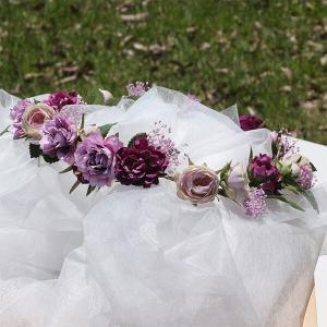 パープル系のミニローズとカスミソウの花冠 lpm0121 イメージ4