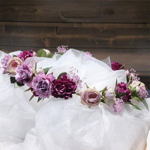パープル系のミニローズとカスミソウの花冠 lpm0121 イメージ5