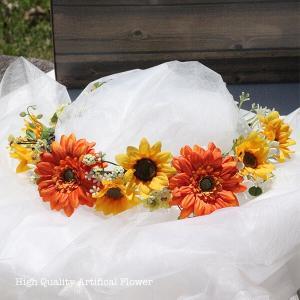 ガーベラとひまわりの花冠 lpm0122 イメージ1