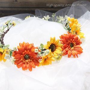 ガーベラとひまわりの花冠 lpm0122 イメージ3