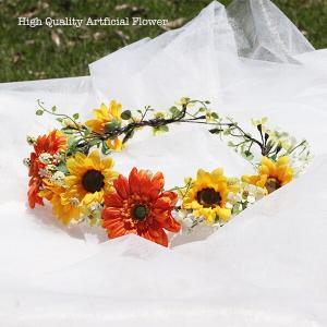 ガーベラとひまわりの花冠 lpm0122 イメージ4