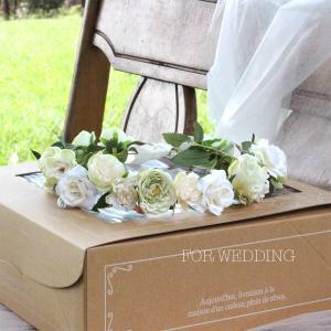 Happy Wedding ふんわりホワイトローズの花冠 イメージ1