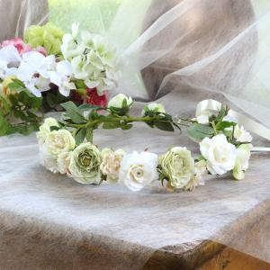 Happy Wedding ふんわりホワイトローズの花冠 イメージ2