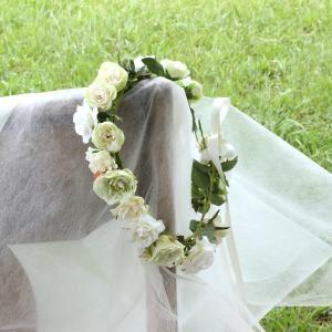 Happy Wedding ふんわりホワイトローズの花冠 イメージ4