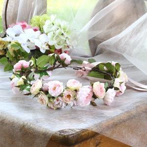 Happy Wedding  ふんわりピンクローズの花冠  イメージ1