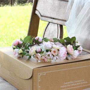 Happy Wedding  ふんわりピンクローズの花冠  イメージ2