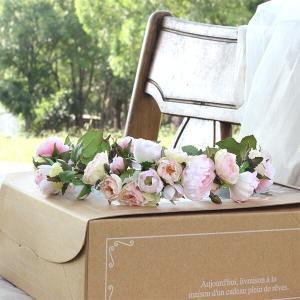 Happy Wedding  ふんわりピンクローズの花冠  イメージ3