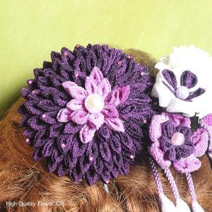 紫のダリアと小花のつまみ細工の髪かざり イメージ3