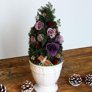 プリザーブドフラワーのクリスマスツリーパープル イメージ3