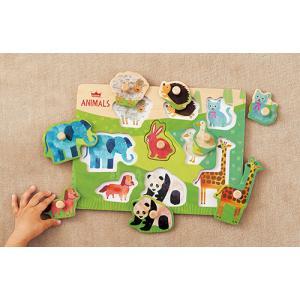 『木のパズル なかよしどうぶつ』出産祝い 木のおもちゃ はじめてのおもちゃ 知育玩具 誕生日プレゼント 男の子 女の子[a31310171]|littlegenius