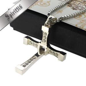 メンズネックレス 『ワイルド・スピード』ドミニク着用モデル クロスペンダント CZ 十字架 肌に優しいサージカルステンレス316L素材 SPWS10 (アジアサイズ)|littlenifty-yhshop