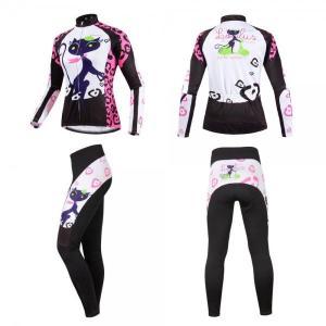 サイクリング ハイエンドウェア レディース キャットプリント 猫 サイクルジャージ UVカット 吸汗速乾伸縮素材 並行輸入正規品 (秋冬向け裏起毛長袖セット)|littlenifty-yhshop