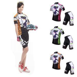 サイクリング ハイエンドウェア レディース 春夏向け キャットプリント 猫 UVカット加工 吸汗速乾伸縮素材 並行輸入正規品(短袖セット)|littlenifty-yhshop