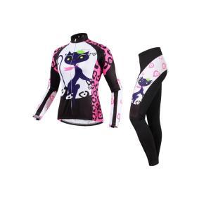 サイクリング ハイエンドウェア レディース キャットプリント 猫 UVカット加工 吸汗速乾伸縮素材 並行輸入正規品(春夏向け長袖セット)|littlenifty-yhshop