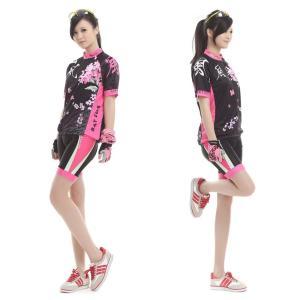 サイクリングウェア レディース サイクルジャージ UVカット 吸汗速乾伸縮素材 バックポケット 並行輸入正規品 短袖セット (ウインドウィスパー)|littlenifty-yhshop