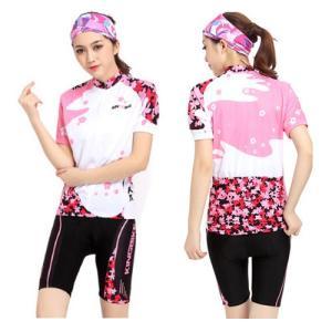 [販売終了予定商品] サイクリングウェア レディース 桜 サイクルジャージ 吸汗速乾伸縮素材 小物入れポケット 全2色 LNKB-SW (短袖上下セット )|littlenifty-yhshop