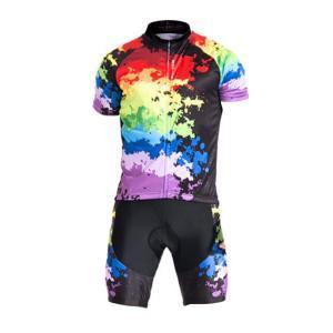 サイクリングウェア LNWS103 カラーウェイブプリント メンズ 吸汗速乾伸縮素材 反射加工 バックポケット 短袖上下セット [並行輸入品]|littlenifty-yhshop