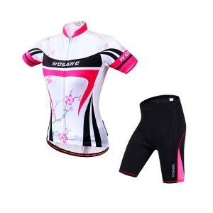 サイクリングウェア LNWS271 プラムフラワープリント 梅 レディース 吸汗速乾伸縮素材 反射加工 バックポケット 短袖上下セット [並行輸入品]|littlenifty-yhshop