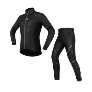 [EMS発送]サイクリングウェア LNWS453 ウインドブレーク 超撥水 裏起毛 秋冬用長袖上下セット|littlenifty-yhshop