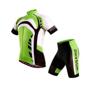 サイクリングウェア LNWS463 グリーンロードプリント メンズ 吸汗速乾伸縮素材 反射加工 バックポケット 短袖上下セット [並行輸入品]|littlenifty-yhshop