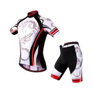 サイクリングウェア LNWS468 ドラゴンプリント 龍 吸汗速乾伸縮素材 反射加工 バックポケット 短袖上下セット [並行輸入品]|littlenifty-yhshop