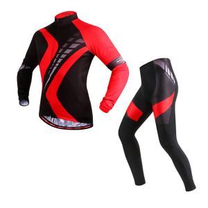 サイクリングウェア LNWS478 レッドロードプリント 吸汗速乾伸縮素材 反射加工 バックポケット 4Dゲルパッド 春夏向け長袖上下セット [並行輸入品]|littlenifty-yhshop